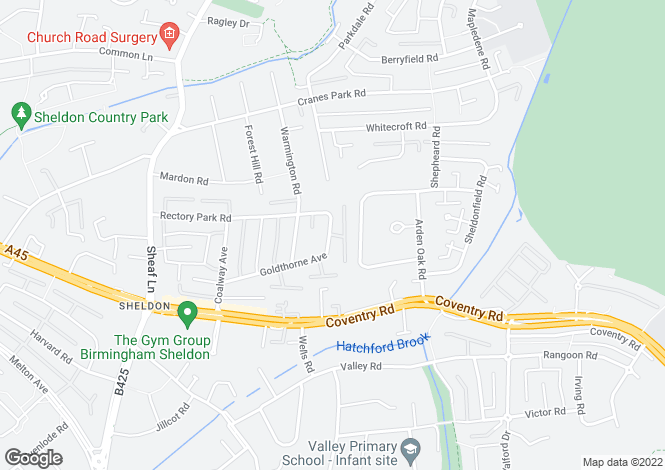 Map for Goldthorne Avenue,Sheldon,Birmingham,B26 3LE