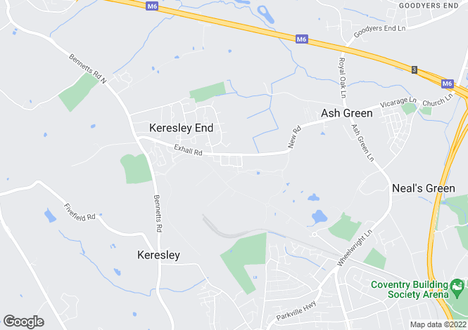 Map for Mercers Meadow, Keresley End, Coventry CV7