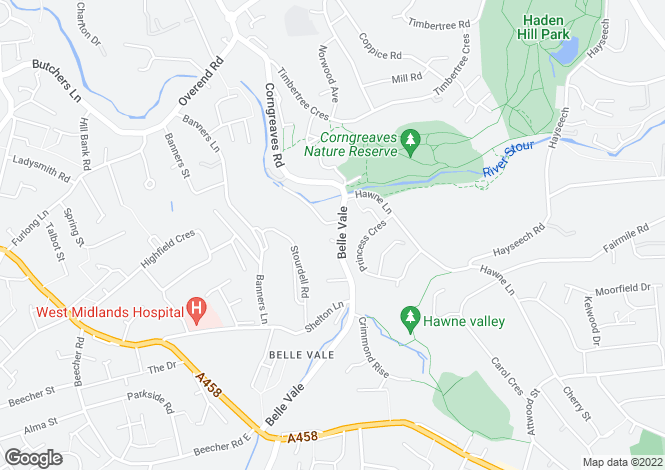 Map for Belle Vale, HALESOWEN