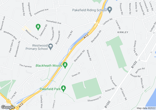 Map for Blackheath Road, Pakefield, Lowestoft NR33