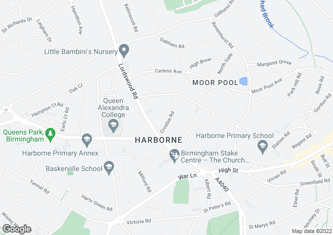 Map for Crosbie Road, Harborne