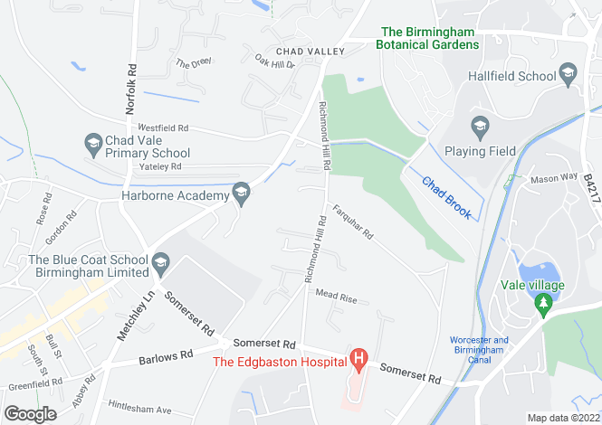 Map for 37 Richmond Hill Road, Edgbaston, Birmingham