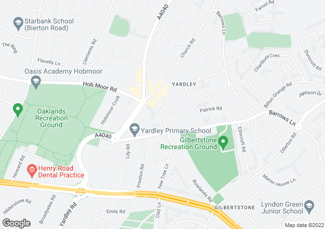 Map for Yew Tree Lane, Yardley, Birmingham, West Midlands, B26