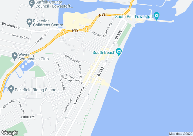 Map for London Road South, Lowestoft