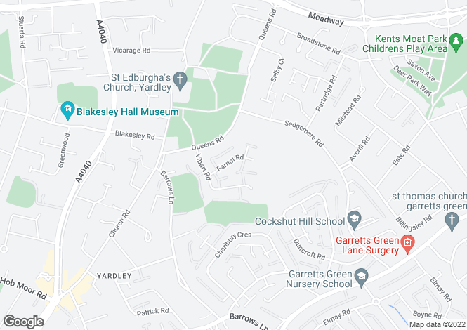 Map for Farnol Road, Yardley, Birmingham