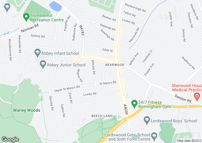 Map for Lightwoods Road, Bearwood, Birmingham, B67