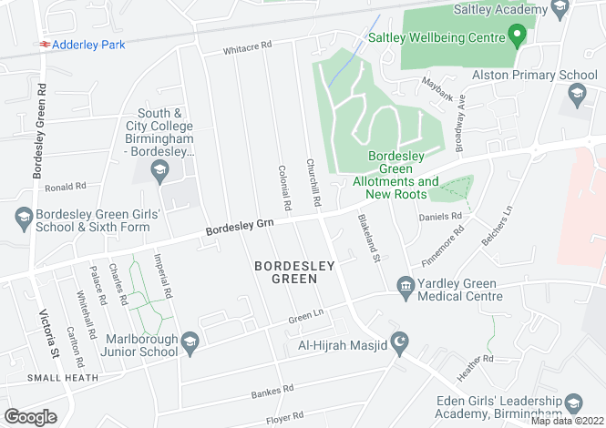 Map for Bordesley Green,