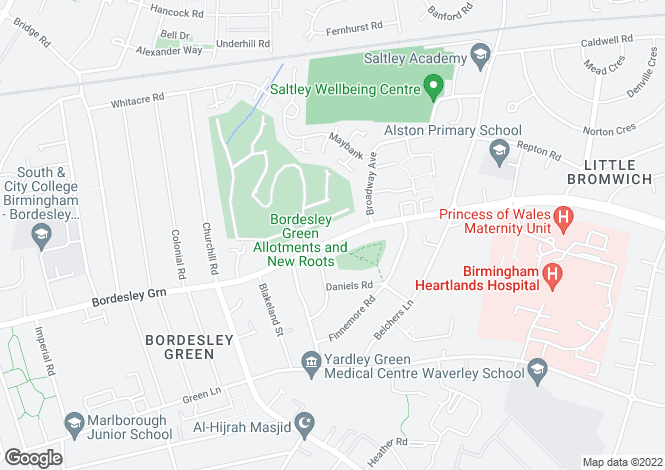 Map for Bordesley Green, Birmingham, B9