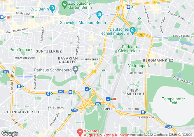 Map for Schoneberg, Berlin, Germany