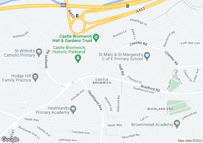Map for CASTLEHILLS DRIVE, CASTLE BROMWICH