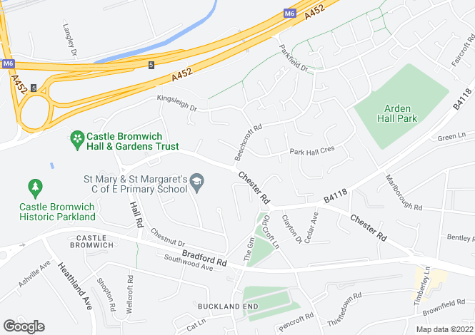 Map for Chester Road, Castle Bromwich, Solihull