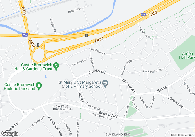 Map for Chester Road, Castle Bromwich, B36