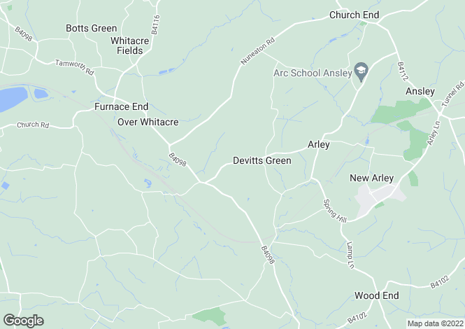 Map for Devitts Green Lane, Near Old Arley, Coventry