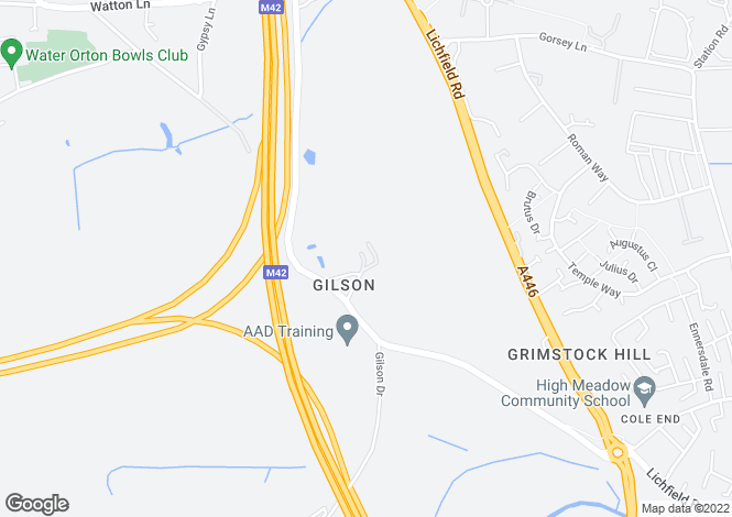 Map for Meadowbank Drive, GILSON, Warwickshire