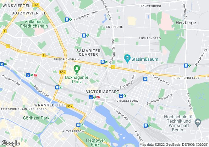 Map for Friedrichshain, Berlin, 10247, Germany