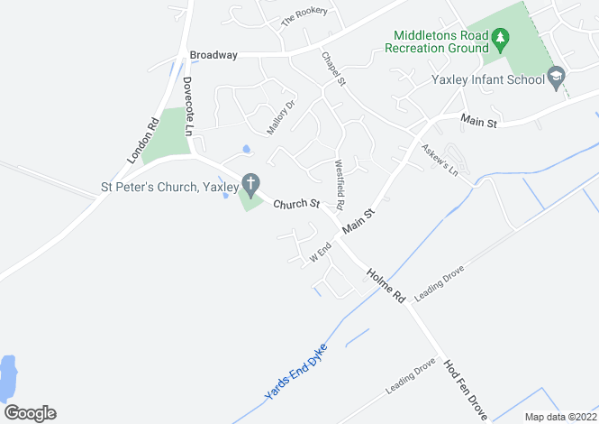 Map for Church Street, Yaxley