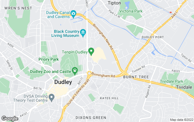 Map for Purplebricks.com, covering Dudley