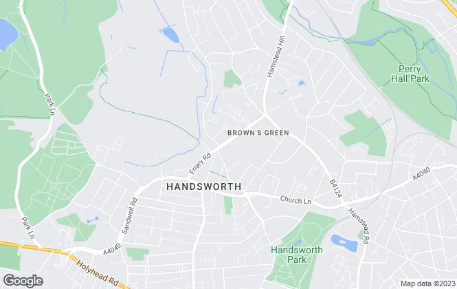 Map for Evenbrook, Birmingham