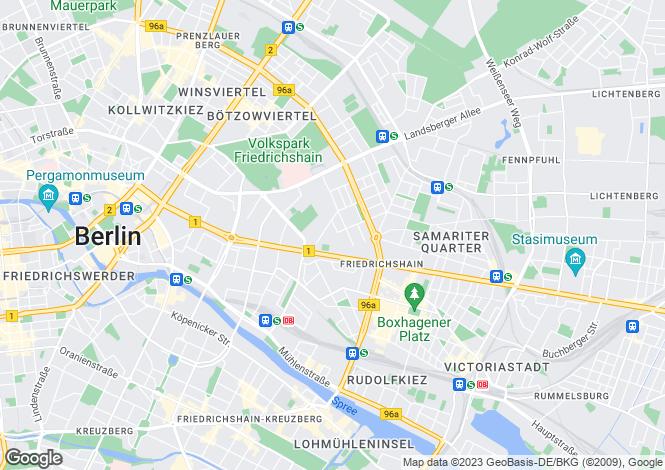 Map for Friedrichshain, Berlin, Germany