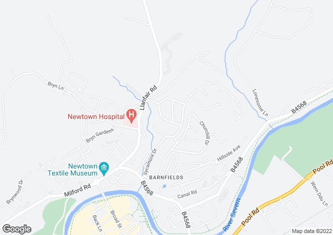 Map for 20 Brynglas Avenue, Barnfields, Newtown, Powys
