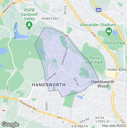 Map of property in Handsworth Wood