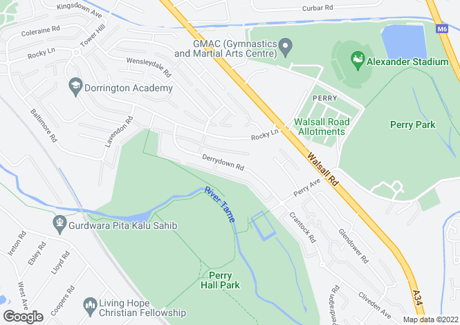 Map for Derrydown Road, Perry Barr, Birmingham