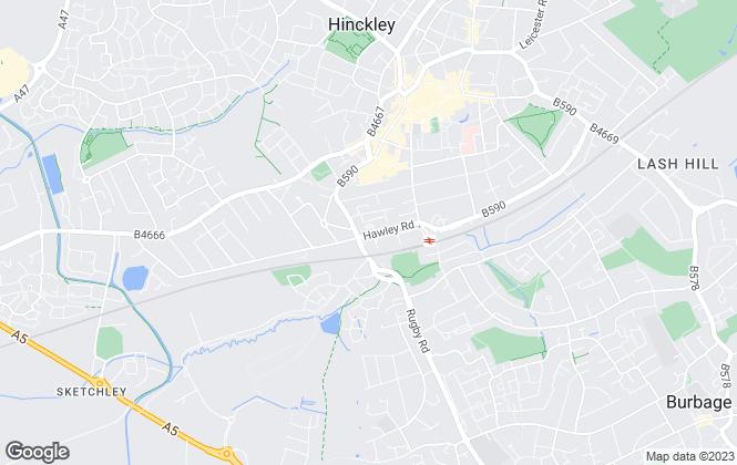 Map for Hinckley & Bosworth Borough Council, Hinckley