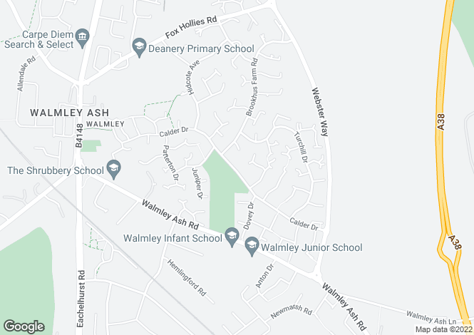 Map for Calder Drive, Walmley, Sutton Coldfield, B76