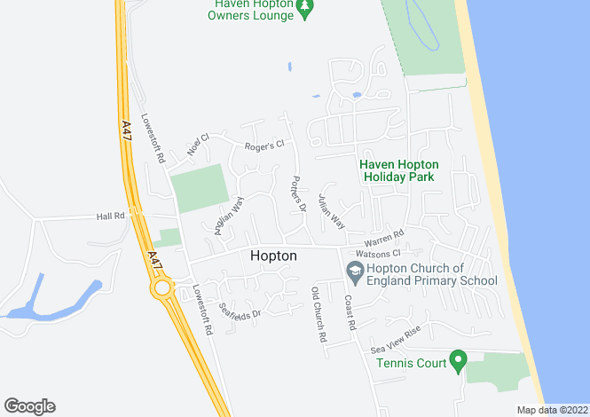 Map for Potters Drive, Hopton, Great Yarmouth