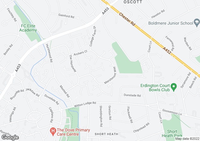 Map for Cheadle Drive, New Oscott, Birmingham