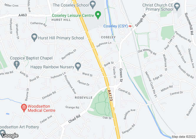 Map for Bank Street, Coseley, Bilston, WV14