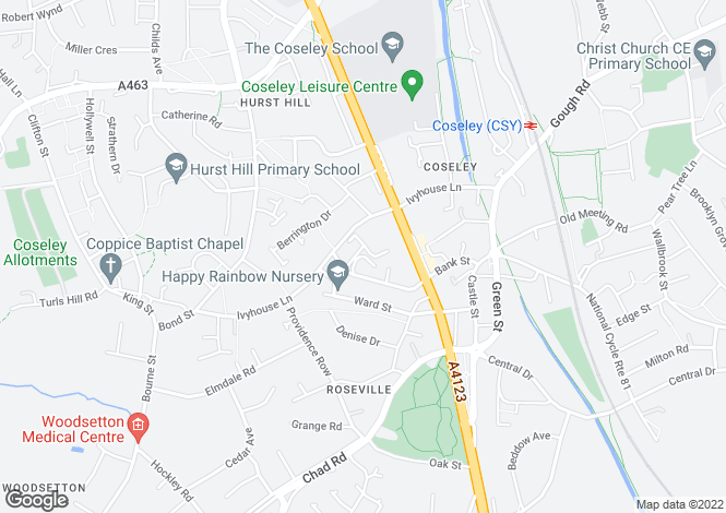 Map for EVERGREEN CLOSE, COSELEY, BILSTON