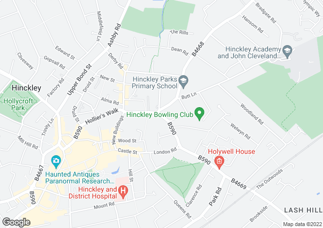 Map for Leicester Road, Hinckley