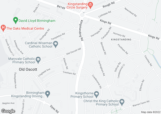 Map for Kingstanding Road, Kingstanding, B44