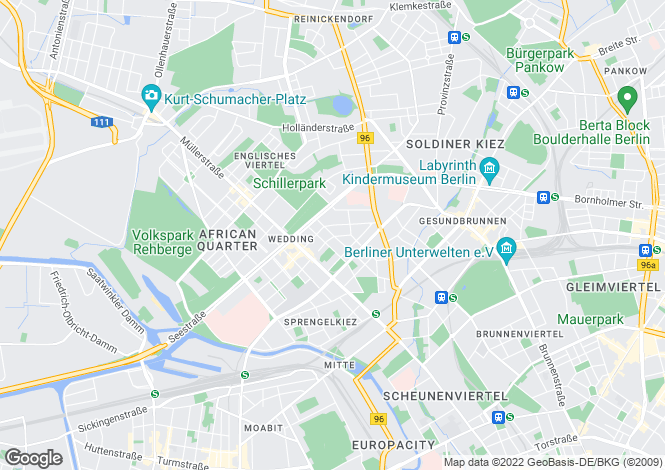 Map for Wedding, Berlin