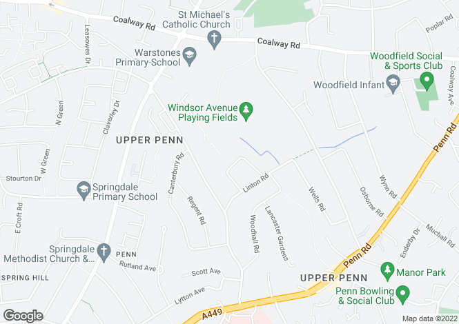 Map for 57 Mason Crescent, Penn, Wolverhampton, West Midlands