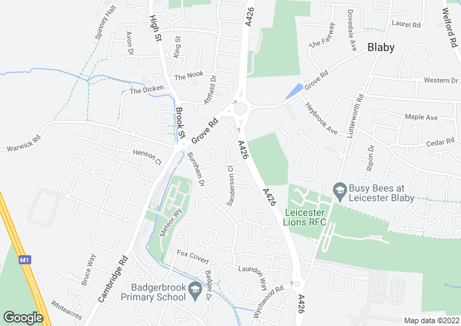 Map for Sanderson Close, Whetstone, Leicester