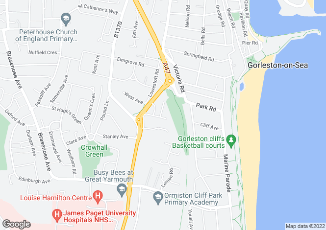 Map for Gorleston, Great Yarmouth, Norfolk