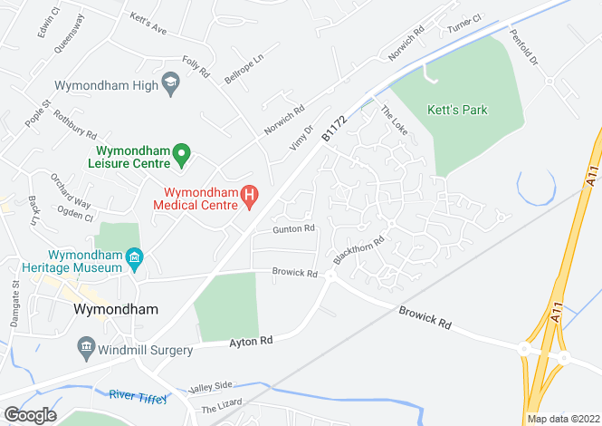 Map for Burroughs Way, WYMONDHAM