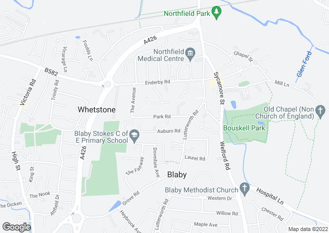Map for Park Road, Blaby, Leicester