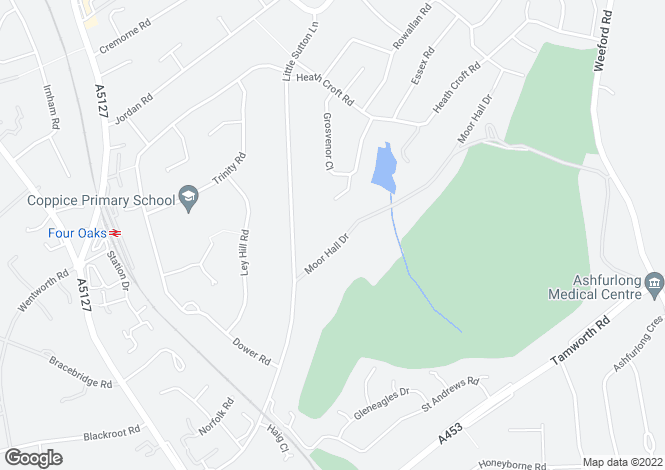 Map for 12 Moor Hall Drive, Moor Hall, Four Oaks, Sutton Coldfield, B75