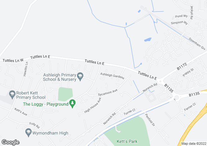 Map for Ashleigh Gardens, WYMONDHAM
