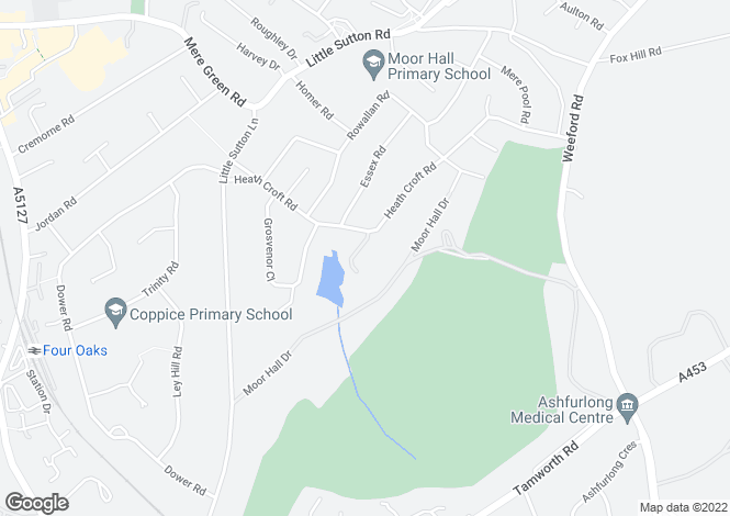 Map for Moor Hall Way, Four Oaks, Sutton Coldfield, West Midlands