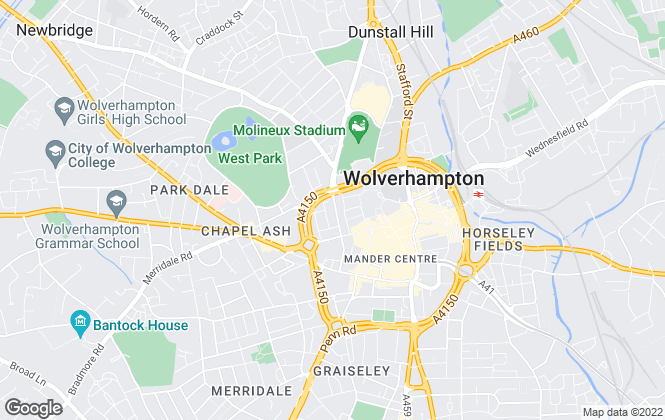 Map for Martin & Co, Wolverhampton - Lettings & Sales
