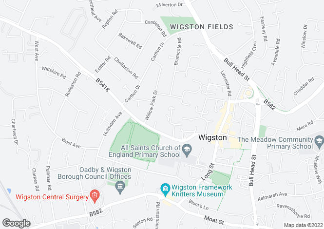 Map for Penney Close, Wigston