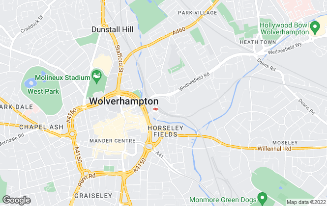 Map for Purplebricks, covering Wolverhampton