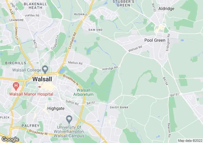 Map for Aldridge Road, Walsall