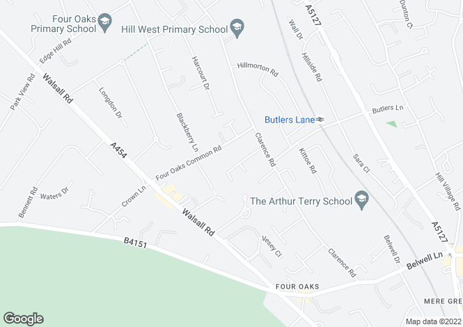 Map for Grounds Road, Four Oaks, Sutton Coldfield, B74