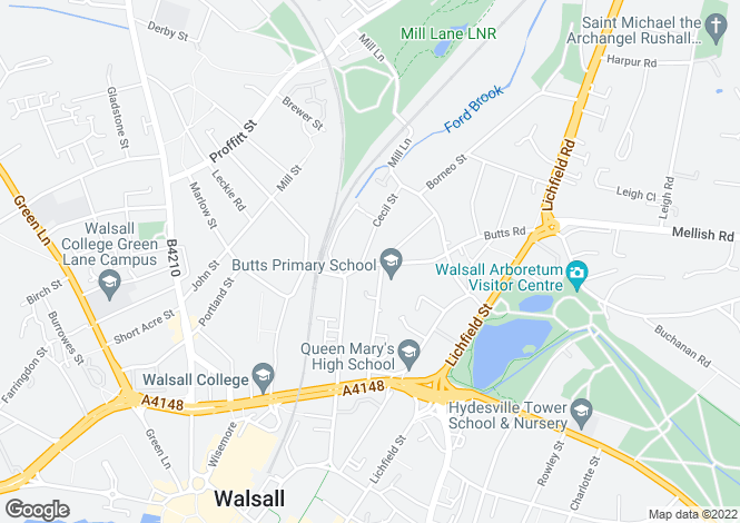 Map for Cecil Street, Walsall