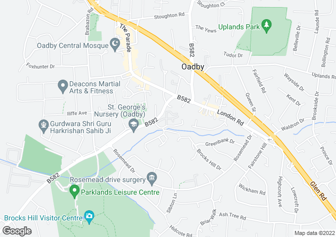 Map for Honeywell Close, Oadby, LE2